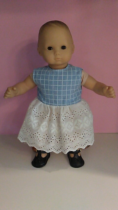 50f855e9c88 Blue checked eyelet dress bc2 - Ruby Bell Doll Clothes